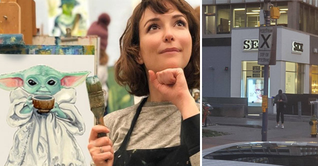 cool bunch of pics and memes | a woman painting baby yoda and a sign that accidentally says sex