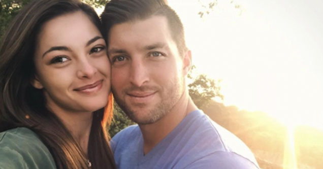 tebow gets married and is no longer celibate    Tim Tebow and his wife Demi Nel-Peters smiling with the sun setting behind them