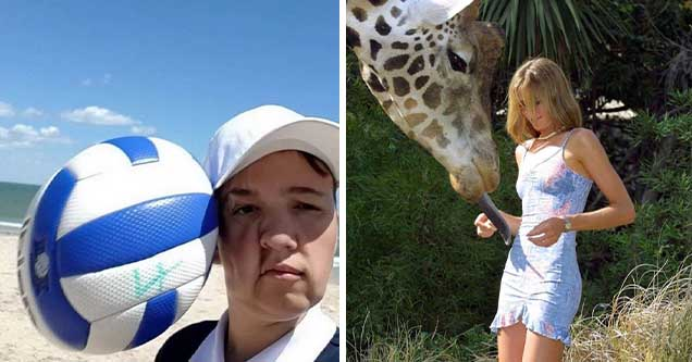 ball about to hit someone head | daniela hantuchova giraffe