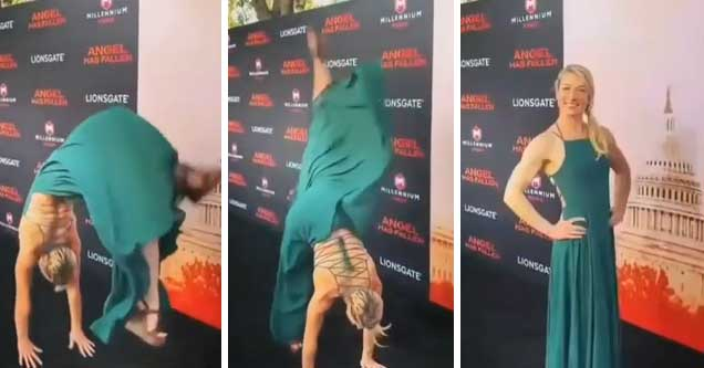 Jessie Graff does backflip on red carpet for 'Angel Has Fallen'   stuntwoman does a backflip while wearing a green gown on the red carpet