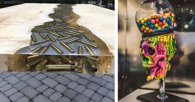 cool wooden bullet table | skeleton bubble gum machine