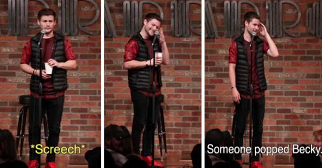 video of a comedian that guesses a womans name during a stand up comedic routine | Drew Lynch guesses girl's name based on her laugh