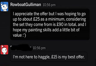 a dude trying to haggle for 40k merchandise