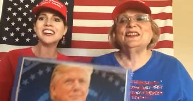 Two MAGA ladies sing 'President Trump is a Mighty Man'