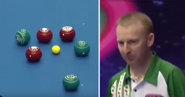 Bowls player makes one of the best shots you'll ever see