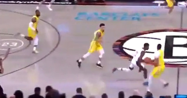 cool basketball shot with anthony davis | anthony davis running on the court