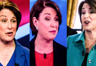video of politician Klobuchar repeating the same joke    Amy Klobuchar telling the same tired joke over and over again