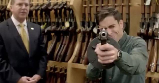 vice reporter holding a gun   | a vice reporter holding a gun in a store