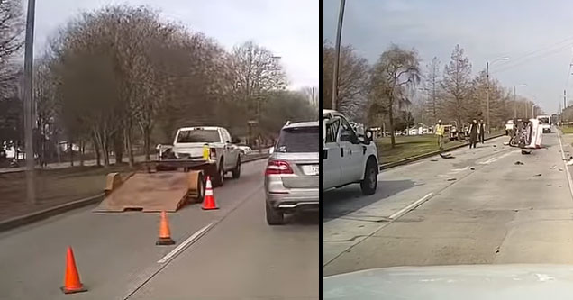 crazy driver ramping off in a video | a white truck with a trailer pulled over on the road and a car that ramped off it