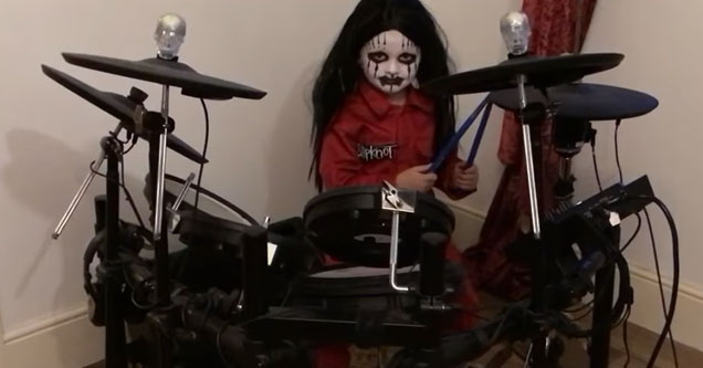 cool video of a 5 year old drummer  | a five year old drummer plying slipknot