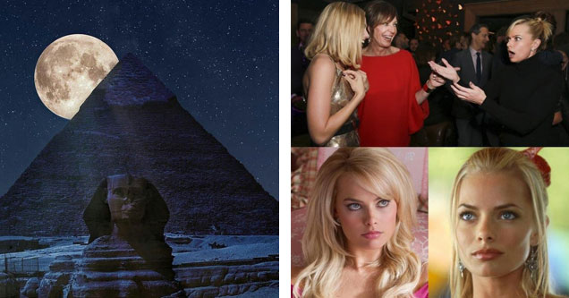 list of various awesome pics | a picture of the moon behind the sphinx  | jaime pressly margot robbie