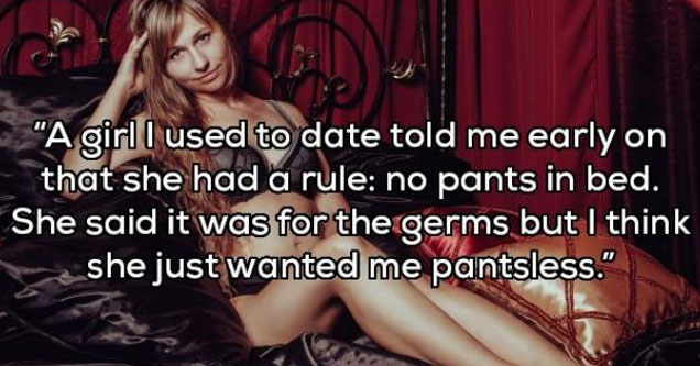 a woman laying in bed with text about a no pants rule