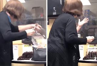 video of a woman at work that proceeds to eat a cake that is in the common break room and she double dips multiple times | a woman grabbing cake with a fork