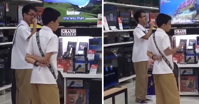 Blind Filipino boy wows everyone with his department store karaoke skills