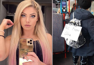 bunch of random funny pics | Alexa Bliss a hot blonde and a woman with a not from china sign on her back