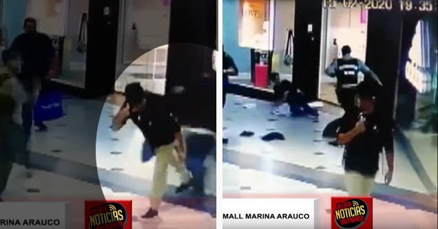 guy trips a mall thief running from police