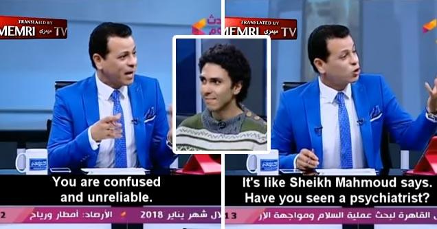 Egytpian tv host hates his atheist guest   tv show host a has a meltdown on tv
