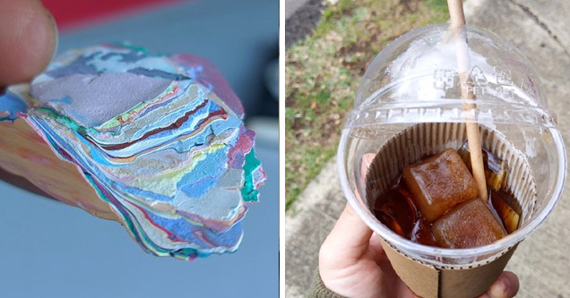 random bunch of cool photos   a bunch of layers of paint and a coffee with coffee ice cubes