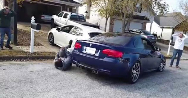 car rolls down driveway and crashes into another guys brand new car