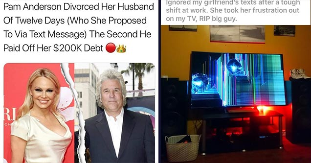 terrible people who are the worst   jon peters pamela anderson - Pam Anderson Divorced Her Husband Of Twelve Days Who She Proposed To Via Text Message The Second He Paid Off Her $ Debt Ou   multimedia - Ignored my girlfriend's texts after a tough shift at