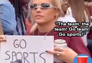 Drunk tailgater talks about supporting her team | the team the team the team go team go sports | interviewer can you just explain what's going on here girl thank you i have no idea