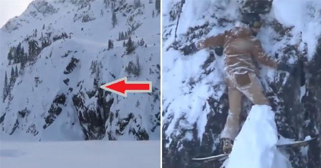 Snowboarder gets stuck on the side of a mountain | video of mountain covered in snow and a person that is stuck on the side of it