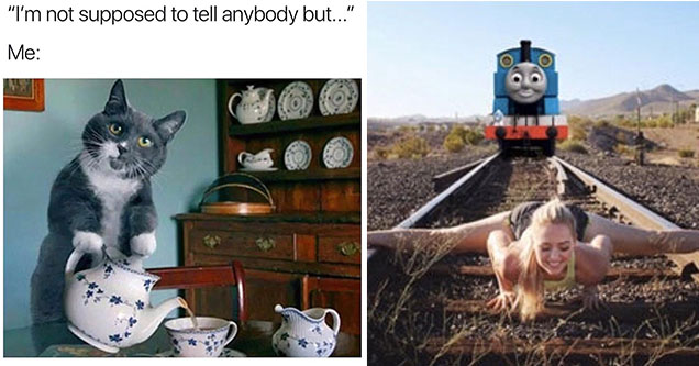 funny memes and pics to make your day | im not supposed to tell anybody meme - I'm not supposed to tell anybody but... Me | woman with legs open on a train track thomas the train