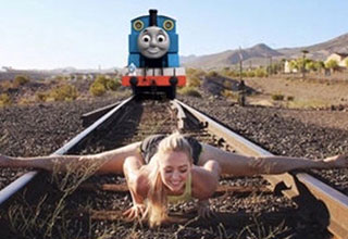 funny memes and pics to make your day | woman with legs open on a train track thomas the train