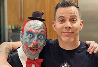 list of funny and random pics that will make you laugh hopefully | steevo and his tattooed barber who looks like a clown