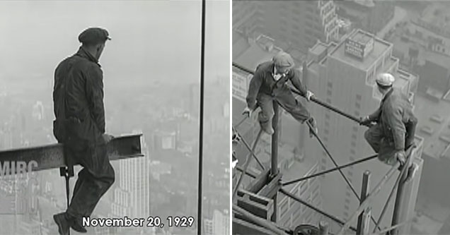 construction workers sitting on the top of the Chrysler building in 1930  | video showing the chrysler building during construction