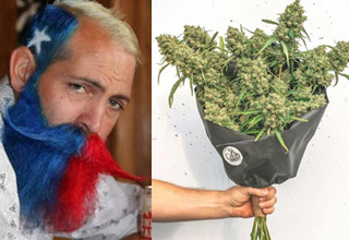 bunch of funny random pics  | a man with a texas flag styled beard and a big bouquet of buds