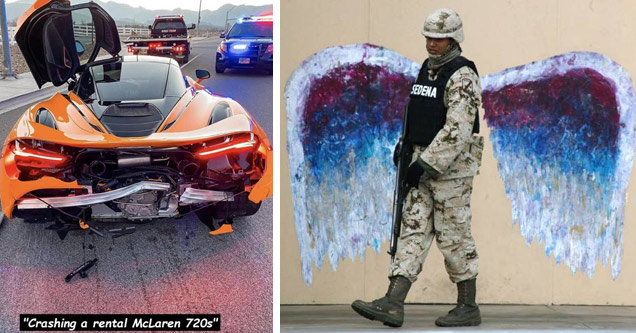 a crashed rental mclaren and a soldier in front of angel wings painted on a wall
