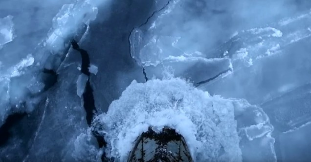 An Arctic Hauler crunches through Arctic ice flows in the Bellot Strait