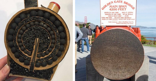 the inside of a firework and a steel cable that holds up golden gate bridge