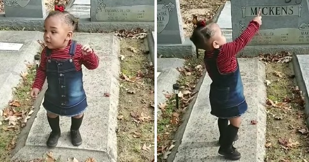 A little girl points, waves, and kisses what seems to be a ghost in a cemetery in a video.
