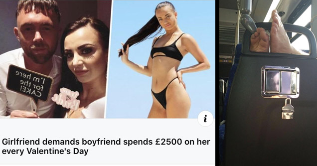 list of entitled people | a woman who demands her boyfriend spend 2500 on her every valentines | someone put their feet over a chair in a public space
