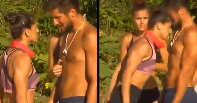 a female contest on survivor headbutting a male opponent