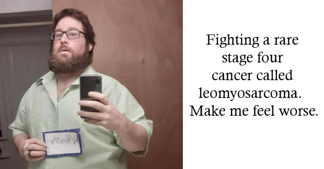 a photo of a man holding a roast me sing who is battling cancer