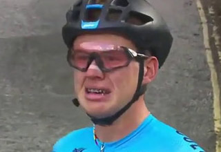young cyclist crying