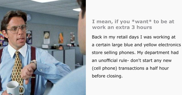 the boss from office space and text about malicious compliance