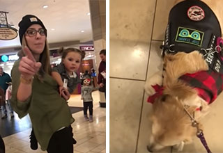 Woman Complains After Not Being Allowed To Pet Service Dog And Get Put In Her Place | mother holding her child complains about not being able to pet a service dog