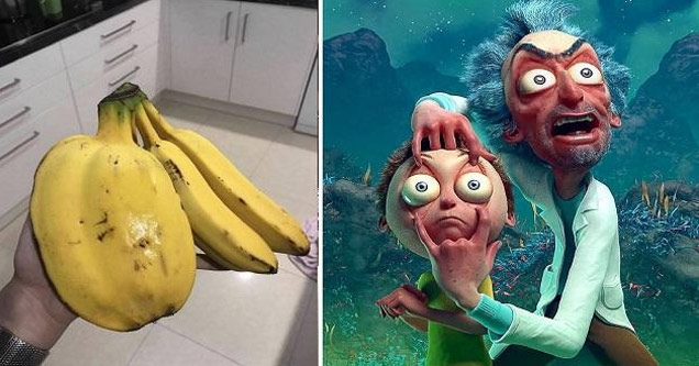 a huge clump of bananas and a rick and morty 3d image