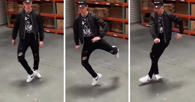 Talented dancer shows off his moonwalk skills