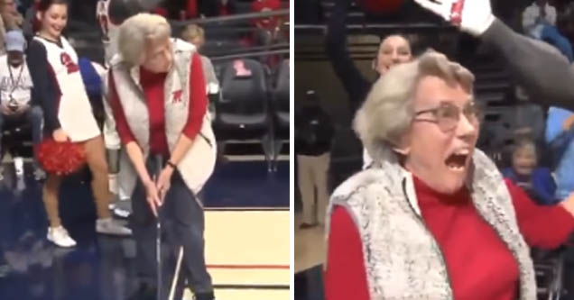granny wins new car by sinking perfect putt across basketball course | pic of a woman playing golf and winning a car
