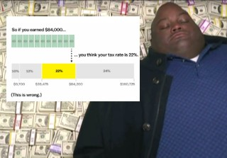 tax bracket 2020 - infographic - dude from breaking bad on pile of money. | diagram - So if you earned $84,000... ... you think your tax rate is 22%. 10% 12% 22% 24% $9,700 $39,475 $84,200 $160,725 This is wrong.