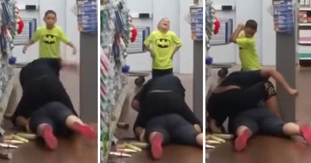 Kid cheers his mom as she fights in Walmart