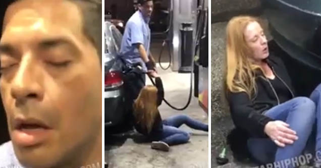 Drugged-out acting dumb couple at gas station