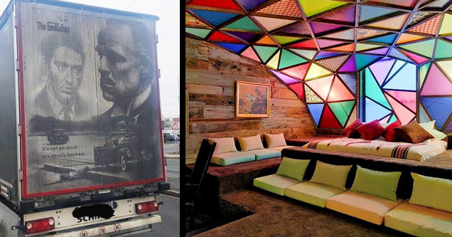 a godfather drawing on a dusty truck and a stained glass room in a bar