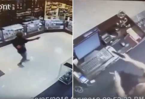 store clerk fires back at would be robber | video captures a clerk defending himself with a gun while holding a cigarette
