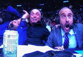 """Use your Photoshop (or whatever editor your prefer) skills and your sense of humor for a chance to win $50 bucks.  Joe Rogan, Daniel Cormier, and Jon Anik's reaction to Beneil Dariush's knockout of Drakkar Klose during the second round of UFC #248 became an <a href=""""https://www.ebaumsworld.com/pictures/the-best-joe-rogan-daniel-cormier-and-jon-anik-ufc-248-reaction-memes/86220832/""""><strong>instant meme</strong></a> due to the exaggerated nature of their reactions."""